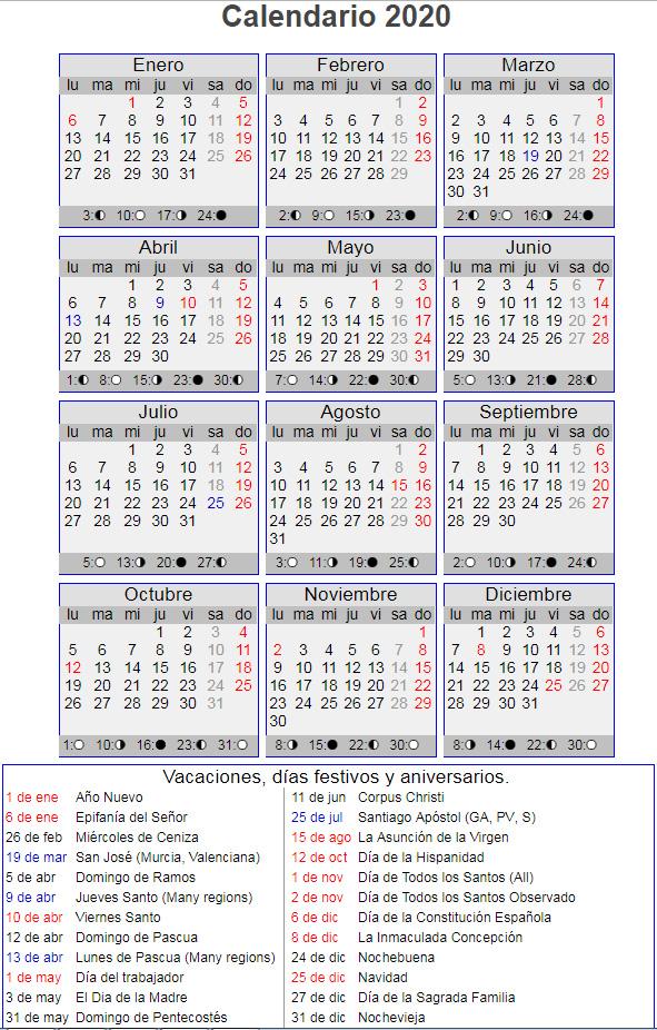 Calendario 2020 Espana Con Festivos.Calendario Laboral Ano 2020 En Espana